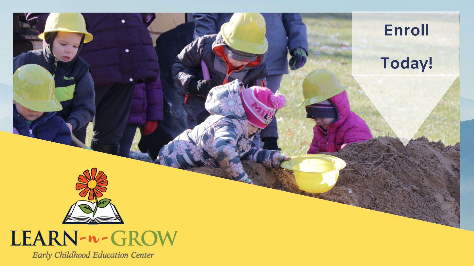kids at groundbreaking with learn 'n grow logo and flag with enrollment info