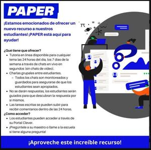 Paper tutoring flyer - Spanish