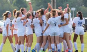 girls soccer cheering