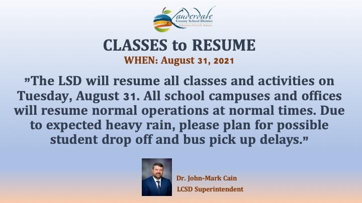 LCSD Hurricane Ida Weather Alert Update