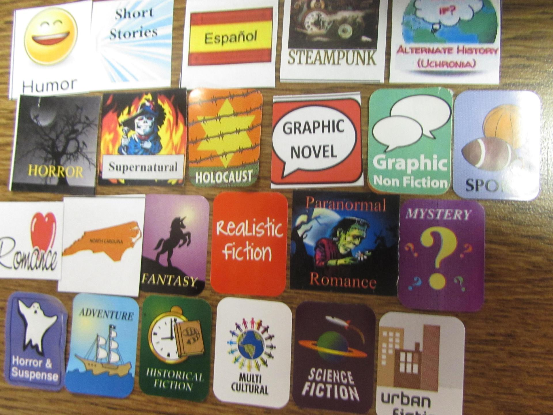genre labels used on book spines