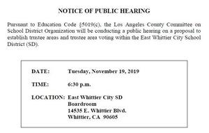Screenshot of the Notice of Public Hearing