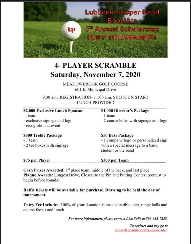 The Lubbock-Cooper Band Boosters will host their fifth annual Scholarship Golf Tournament Thumbnail Image