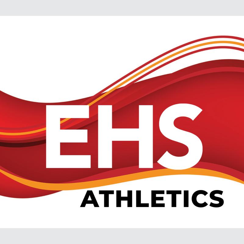 EHS logo, crimson and gold wavy design, abstract