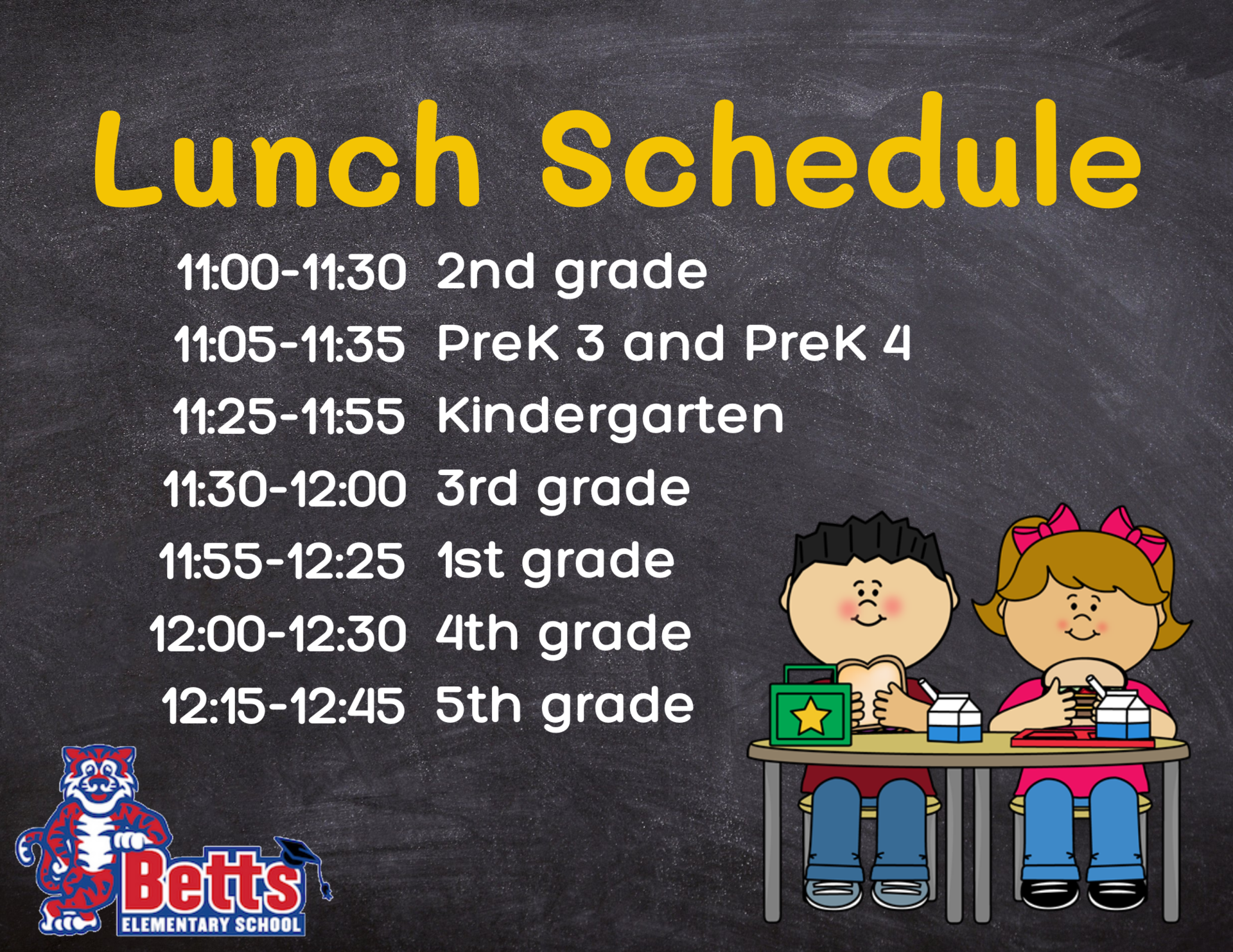 Image of Lunch schedule