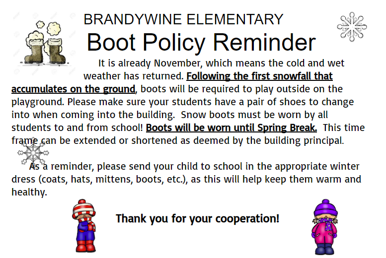 Brandywine Elementary Boot Policy Thumbnail Image