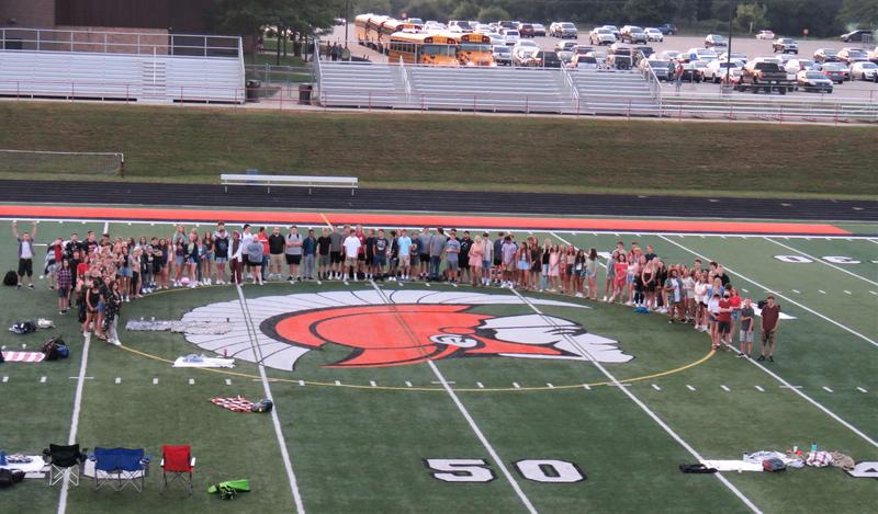 TKHS seniors gather before the start of their last first day of high school.
