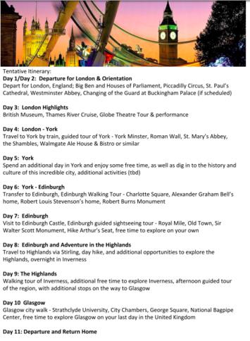 UK Trip Itinerary