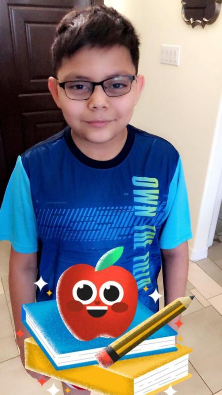 Aidan shows his school spirit!