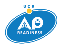 UCR AP Readiness logo...blue oval, with a yellow circle at the top.