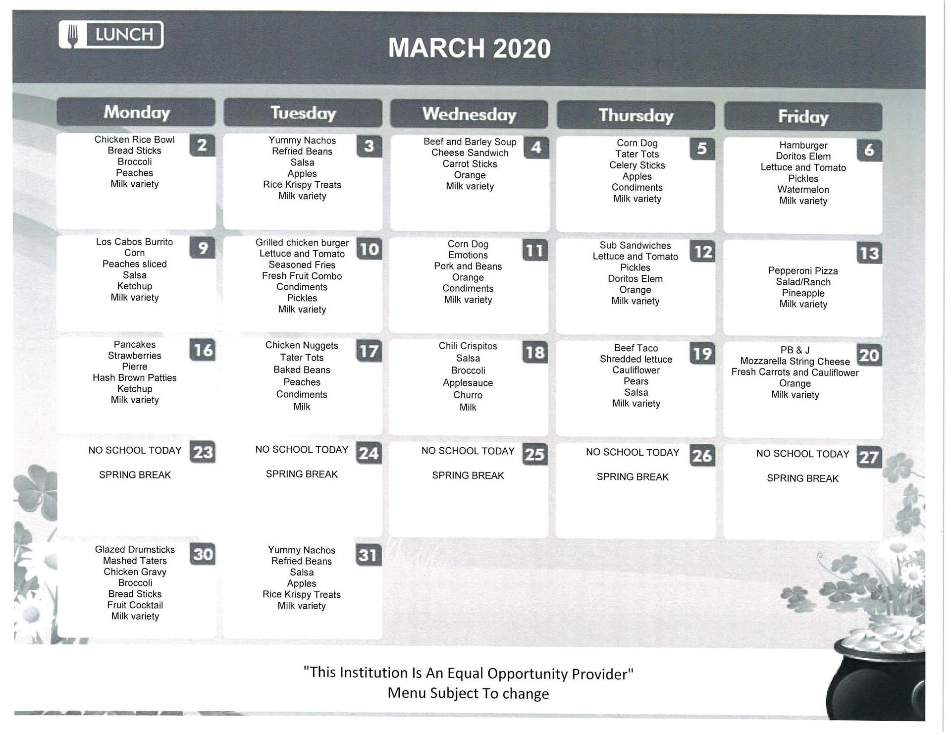 March School Lunch Menu