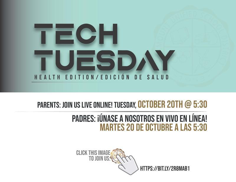 Attention Parents: Join us on Tuesday, October 20 at 5:30 for our live Tech Tuesday webinar! / Atención padres: ¡Únase a nosotros el martes 20 de octubre a las 5:30 para nuestro seminario web en vivo Tech Tuesday! Featured Photo