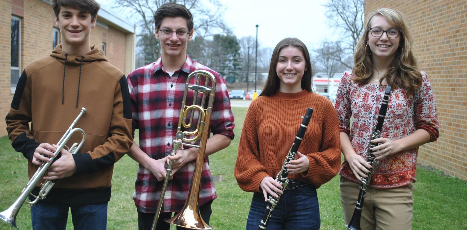 PMEA District Band representatives with instruments