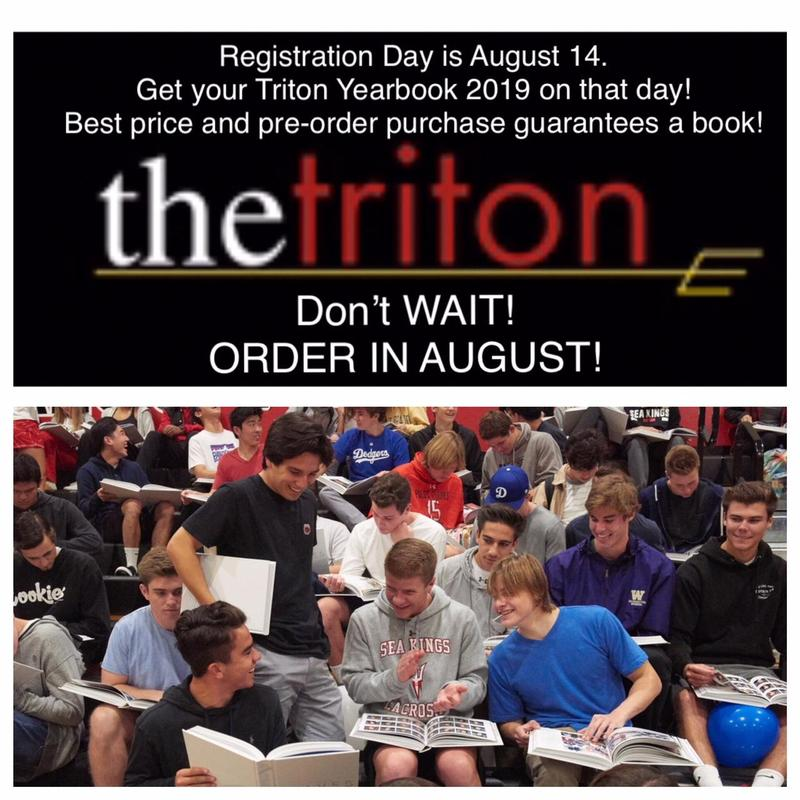 BUY YOUR 2019 TRITON YEARBOOK ON AUGUST 14 AT REGISTRATION! Thumbnail Image