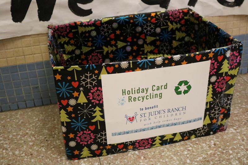 Holiday Card Recycling collection box at Tamaques School to benefit St. Jude's Range for Children.