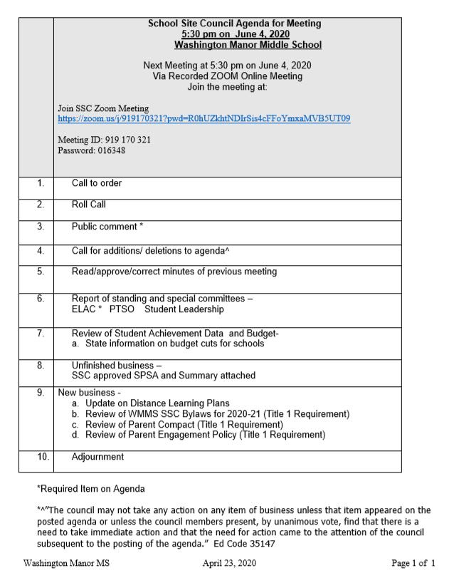 ssc agenda 6/4/20