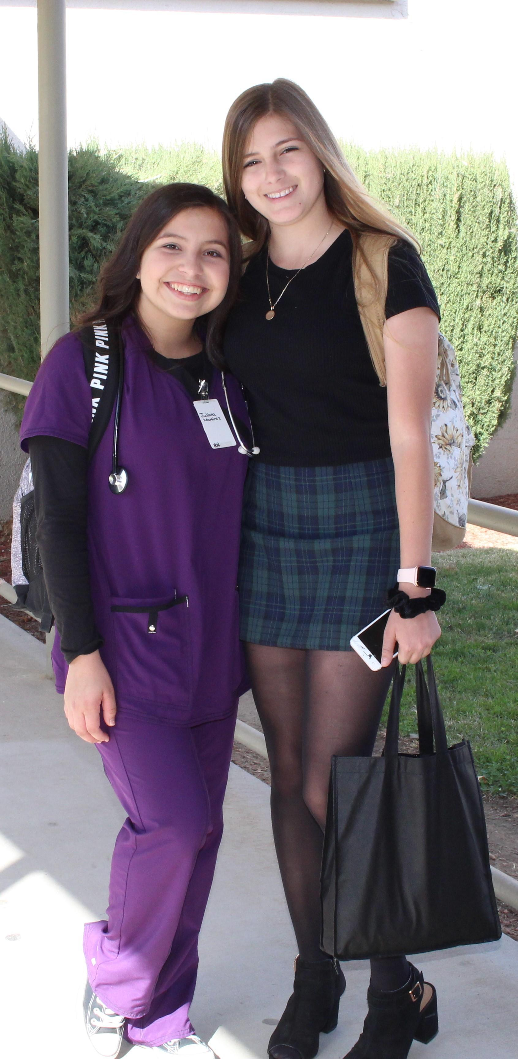 Juliana Martinez dressed as a doctor with Victoria Jimenez as Rachel Green