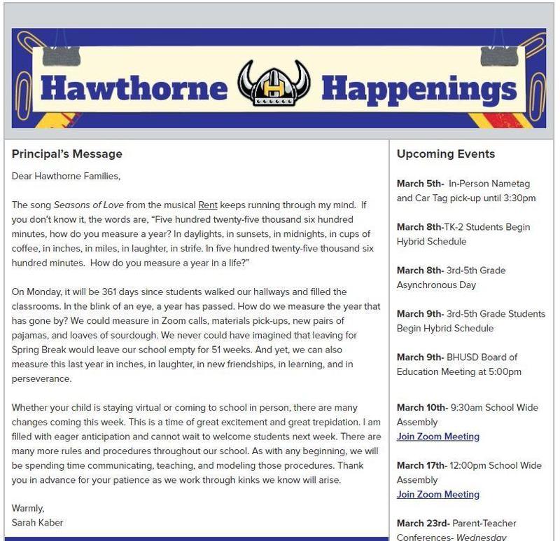 Hawthorne Happenings March 5, 2021