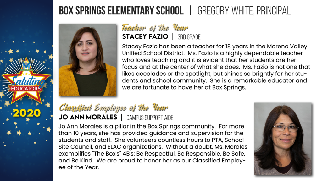 Box Springs Elementary Employees of the Year