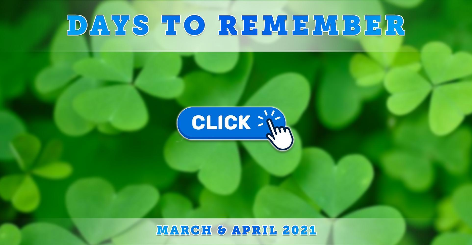 Morse Elementary Important Days to Remember - March & April 2021