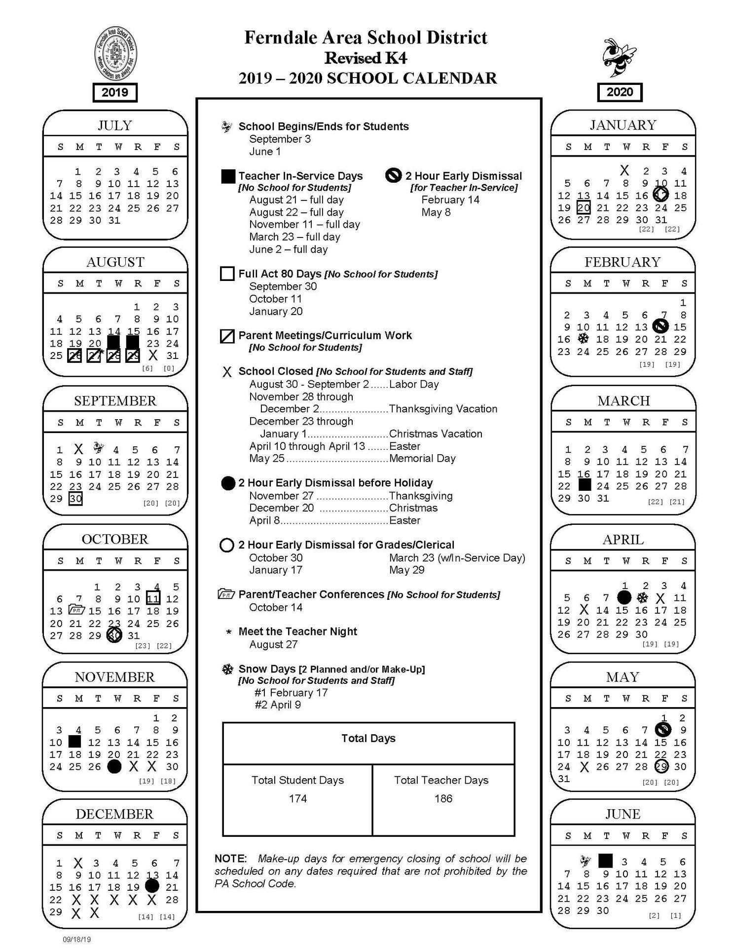 2019 -2020 Revised K4 School Calendar