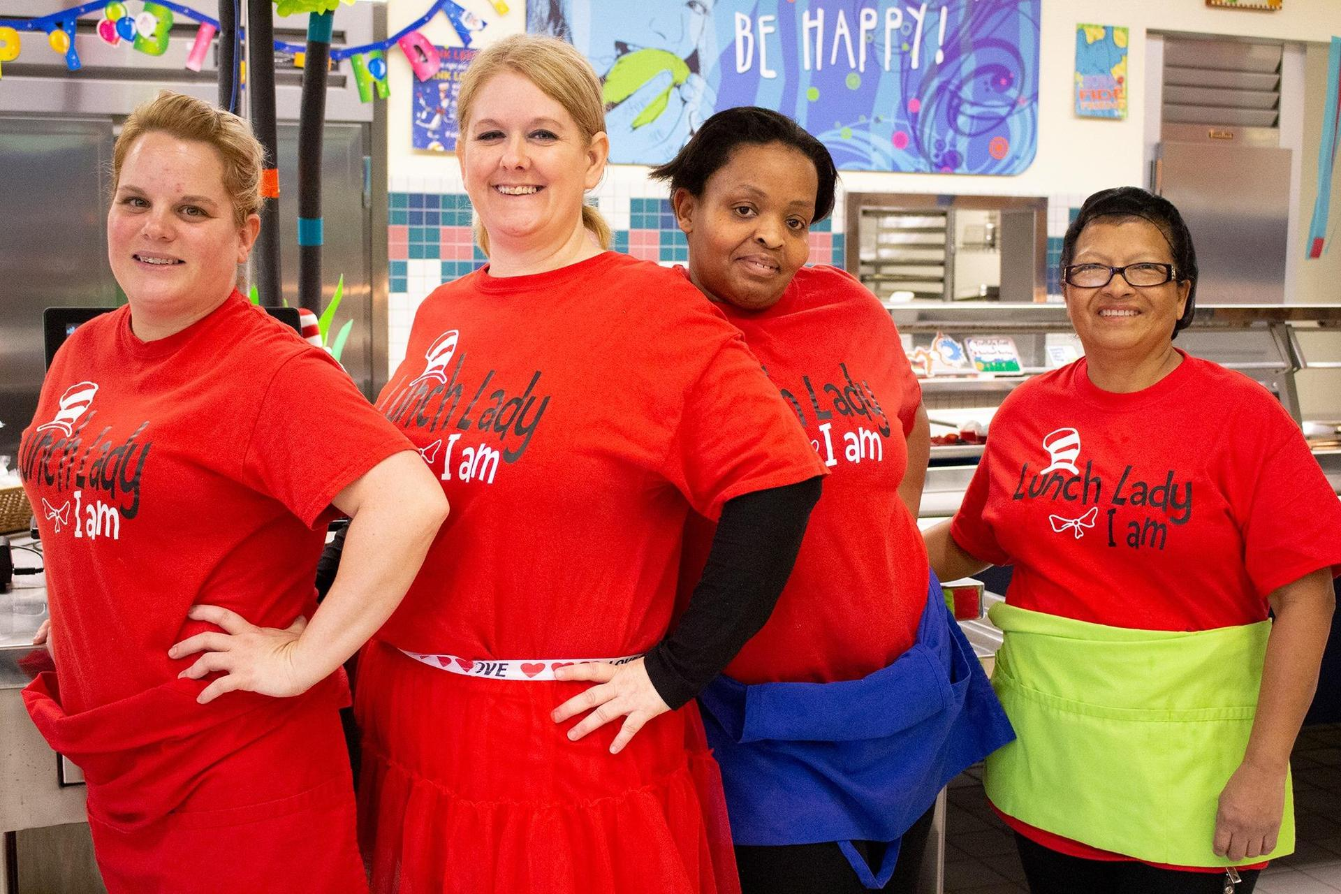4 ladies of the Northside nutrition team dressed up for Dr. Seuss's birthday