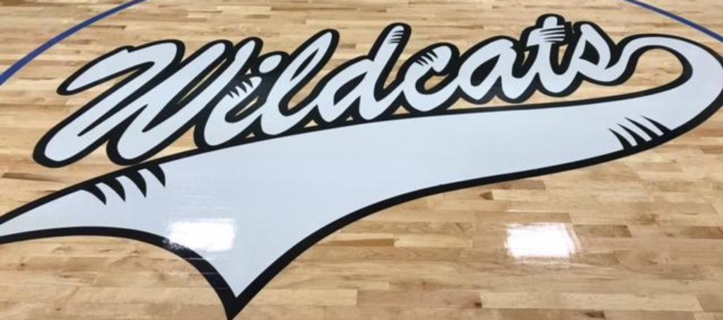 Wildcats logo on the gym floor