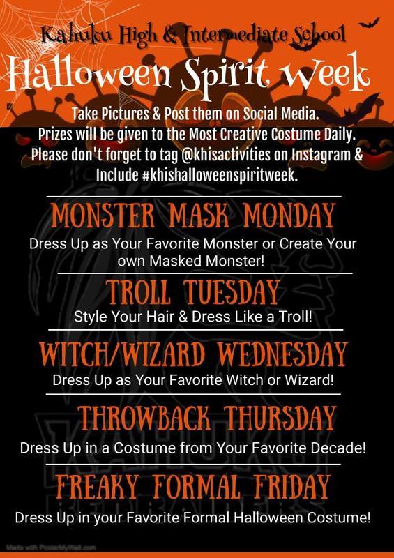 Flyer for Halloween Spirit Week Featured Photo