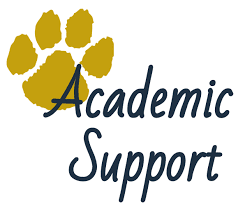 text: Academic support with golden paw print