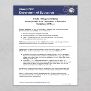 91321 CV19 Requirements for Visiting HIDOE Schools and Offices.png