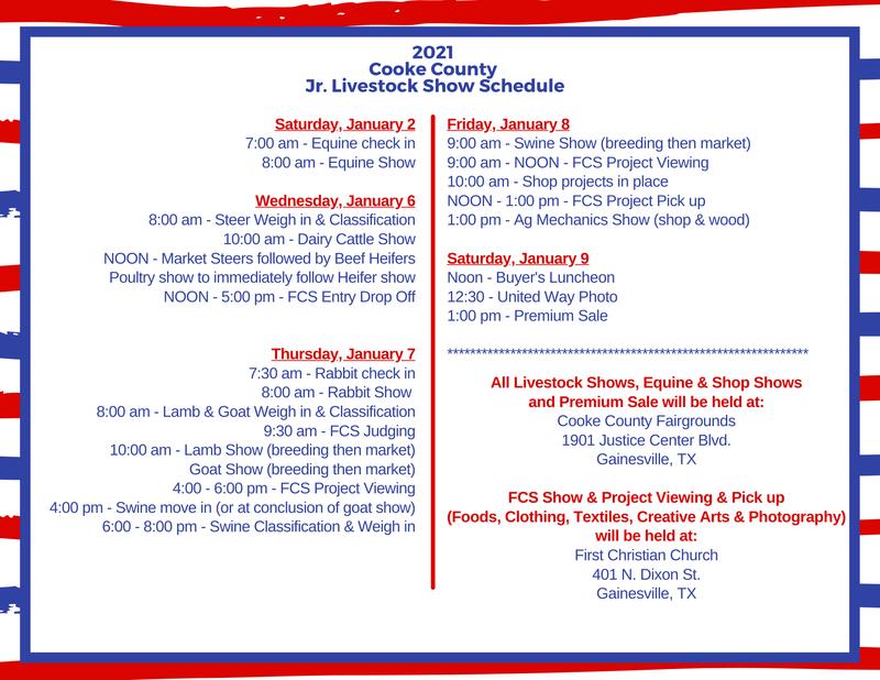 Cooke County Junior Livestock Show Schedule