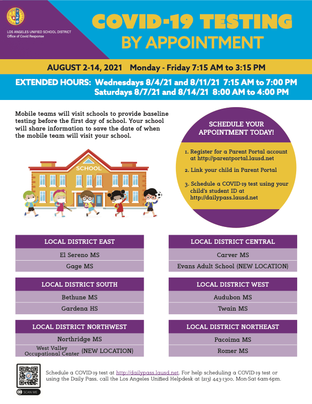 Get Tested Starting August 2 - Upload Non-LAUSD Administered Vaccination Record - School Begins August 16 Image