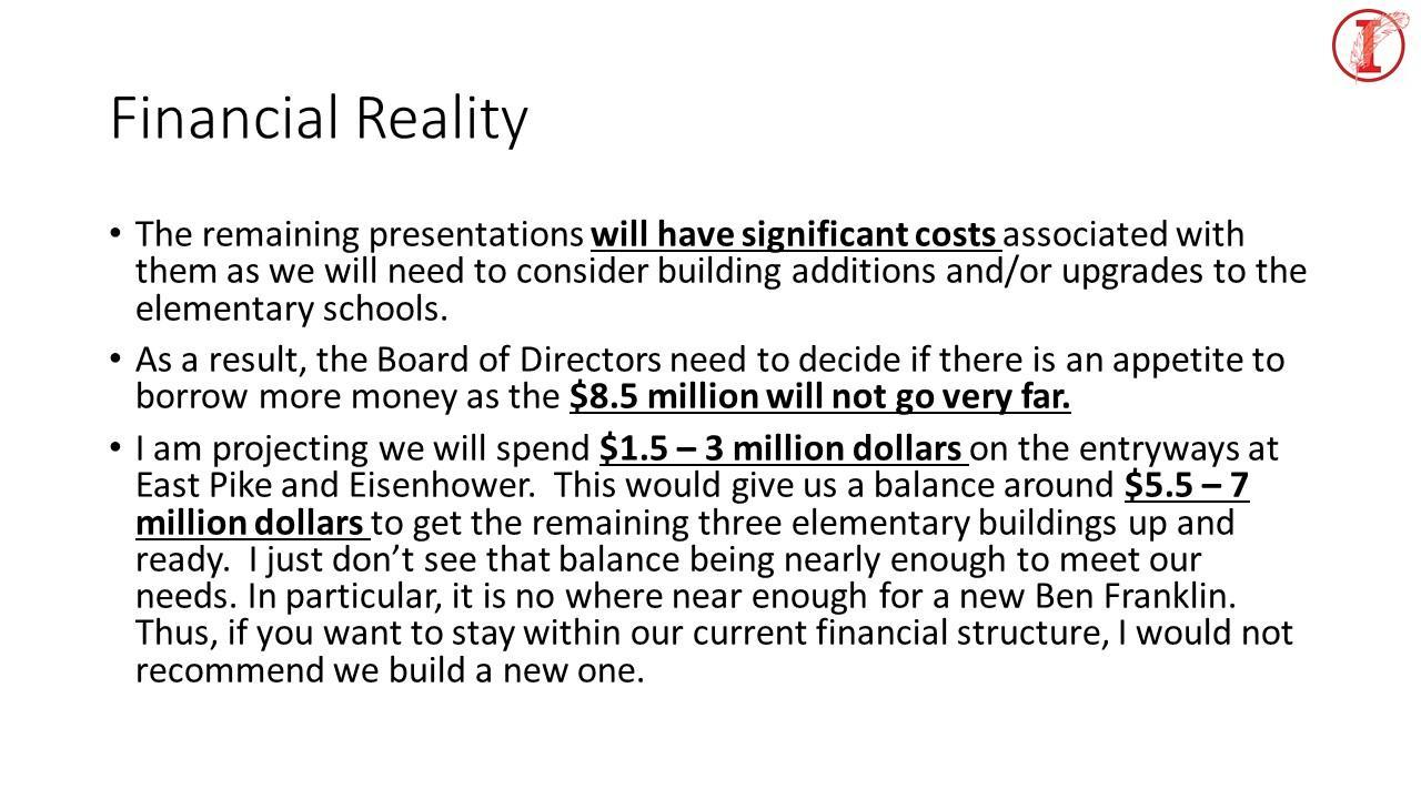 financial reality slide of costs