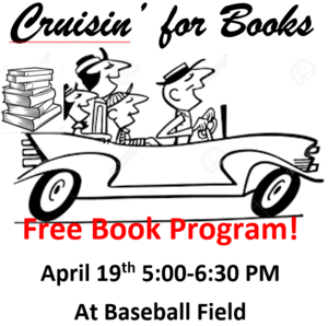Part of the Read With Me Grant.  Free books will be handed out to students in grades Pre-K through 8th.  All you have to do is cruise by Graceville School baseball field between 5:00 PM and 6:30 PM on April 19th
