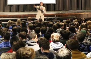 "Dr. Randal Pinkett addresses students at Westfield High School during an inspiring assembly on Feb. 1 commemorating Black History Month.  ""Never let anyone or anything tell you something's not possible,"" he told the gathering."