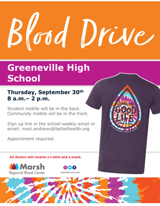 blood drive information with t shirt giveaway