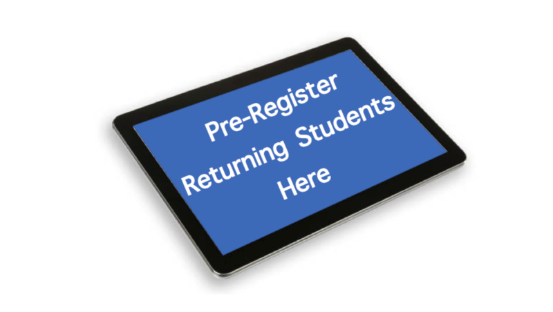A tablet with the words pre-register current students here.