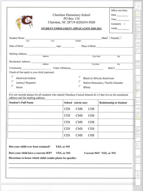 2020-2021 Elementary Student Enrollment Application