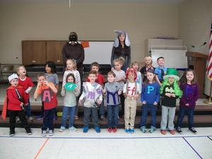 Students dressed as Letterland characters.