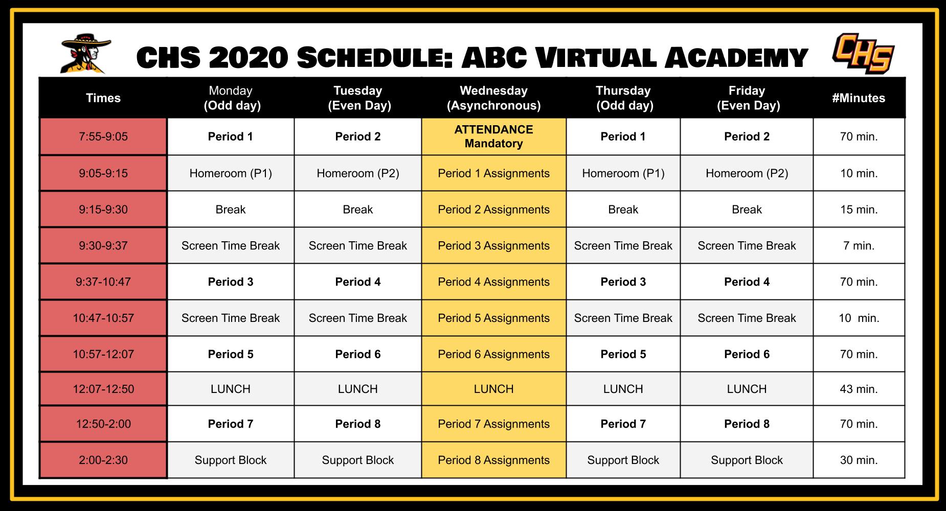 2020 Fall Schedule