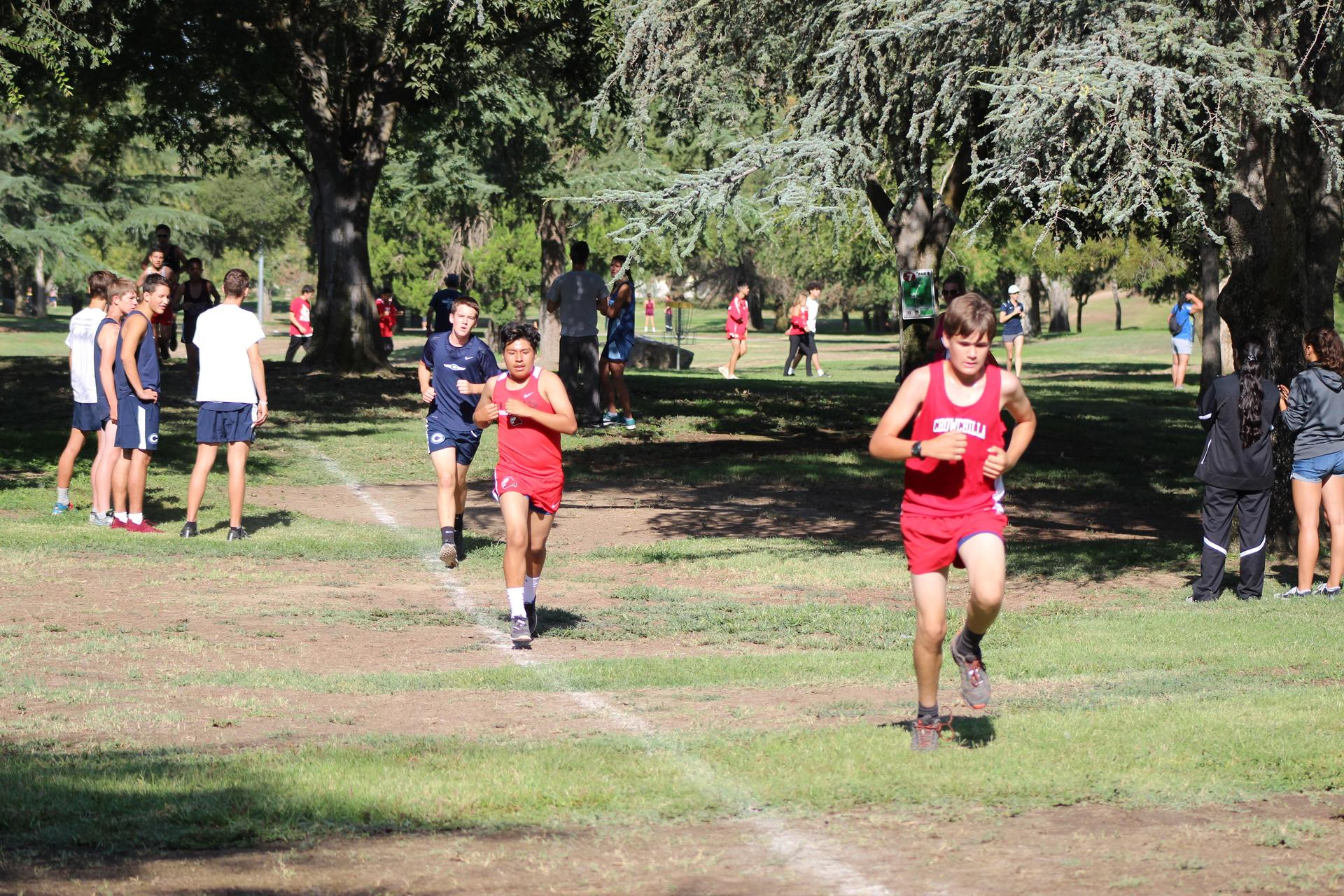 Athletes and fans at Cross Country meet in Madera