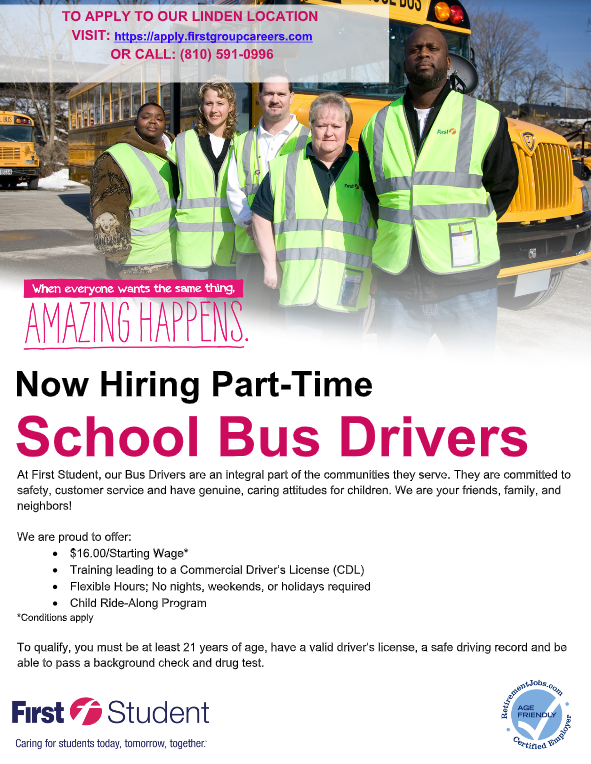 First Student Seeking School Bus Drivers Thumbnail Image
