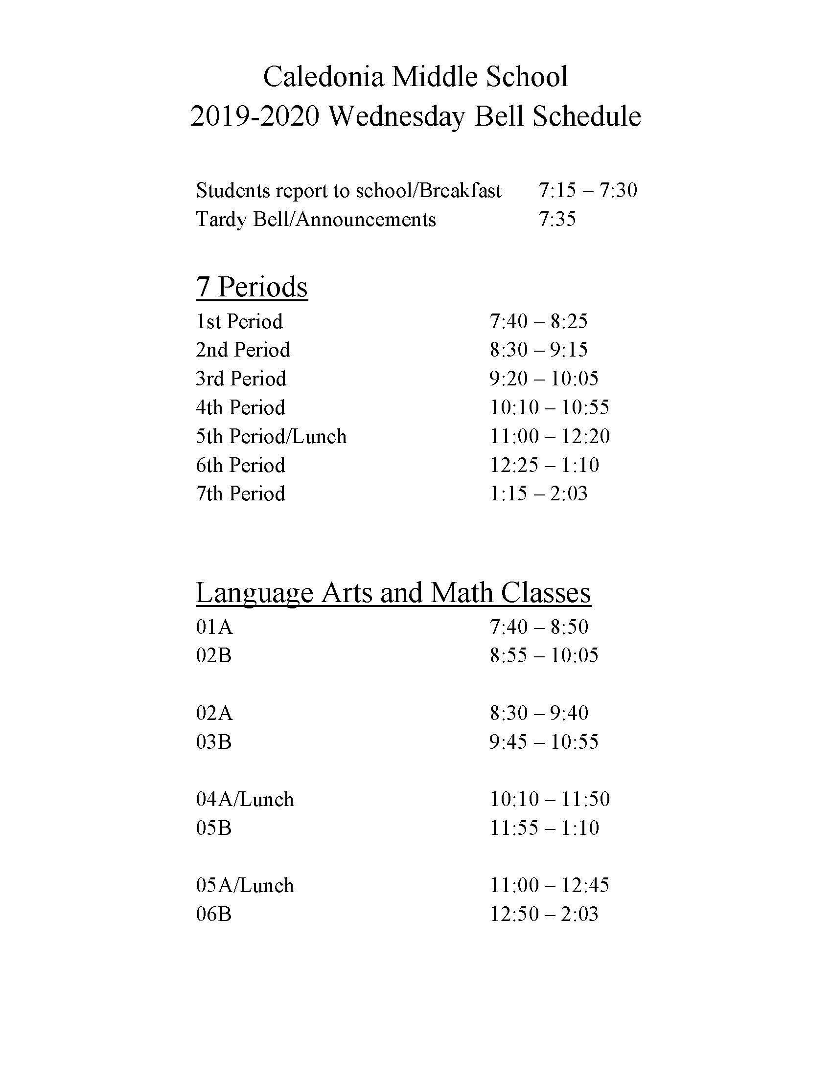 wednesday bell schedule