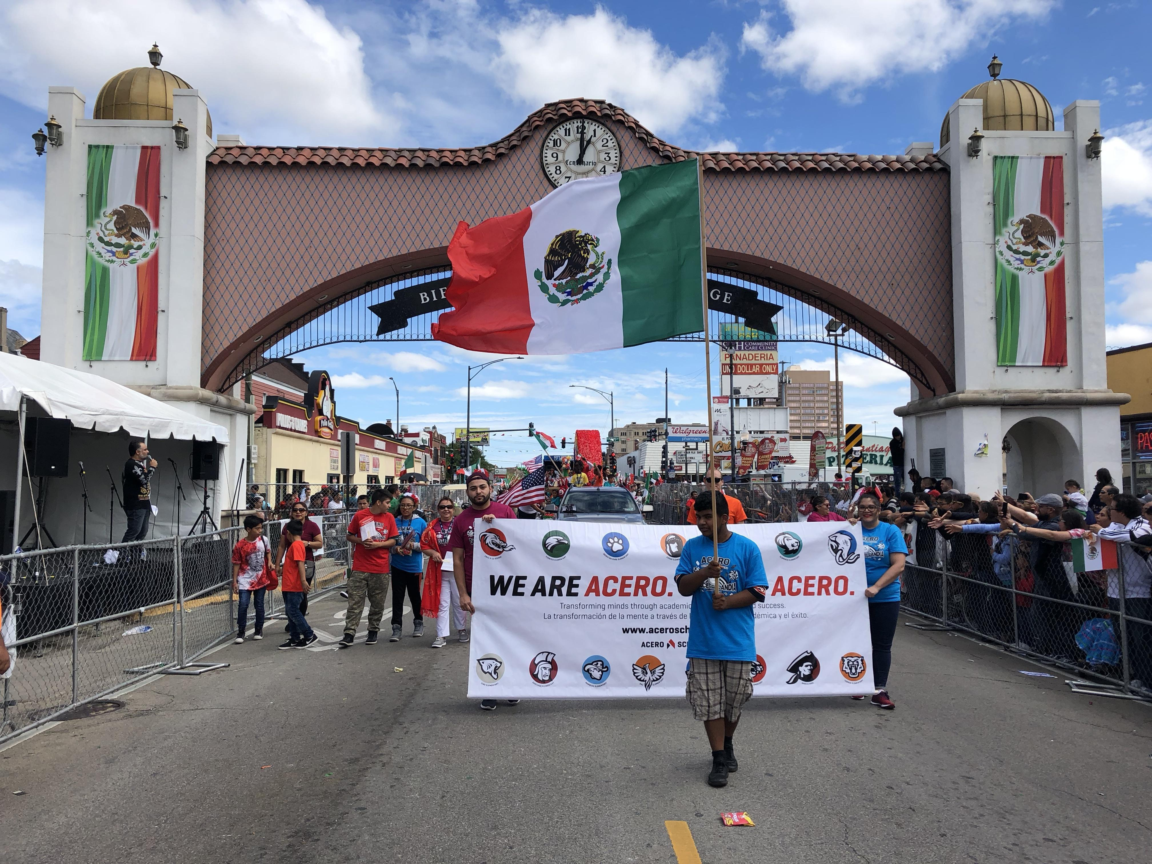 Mexican Day Parade with Acero Banner
