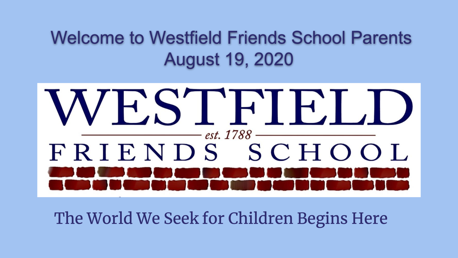 Westfield Welcome 2020-2021