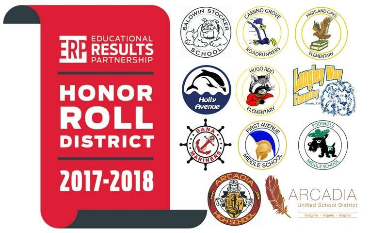ERP Honor Roll Banner and Arcadia Unified School Logos