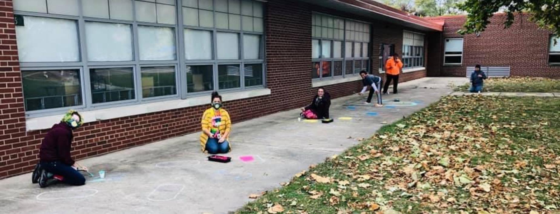 Painting the sidewalks