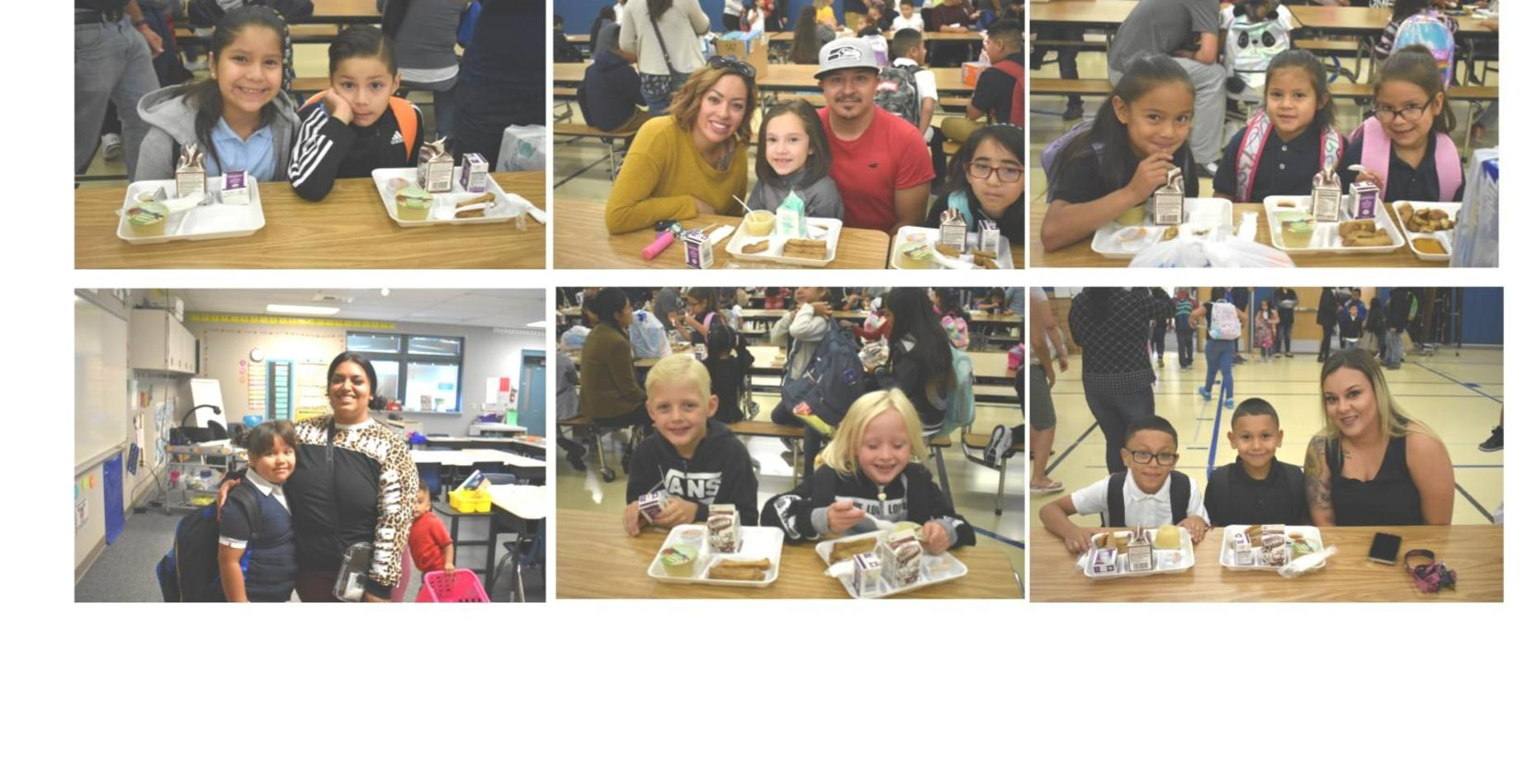 First day of school.  Kids eating breakfast with their parents.  Everyone is smiling!