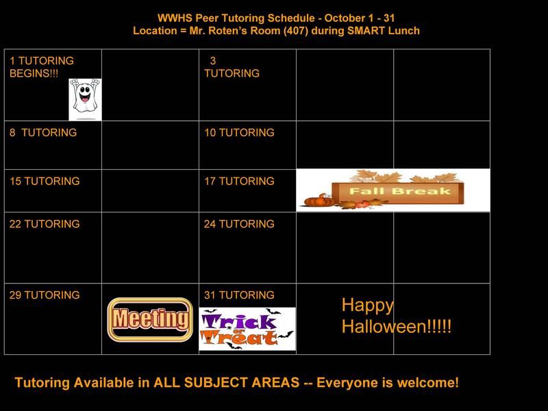 WWHS Peer Tutoring Schedule Thumbnail Image