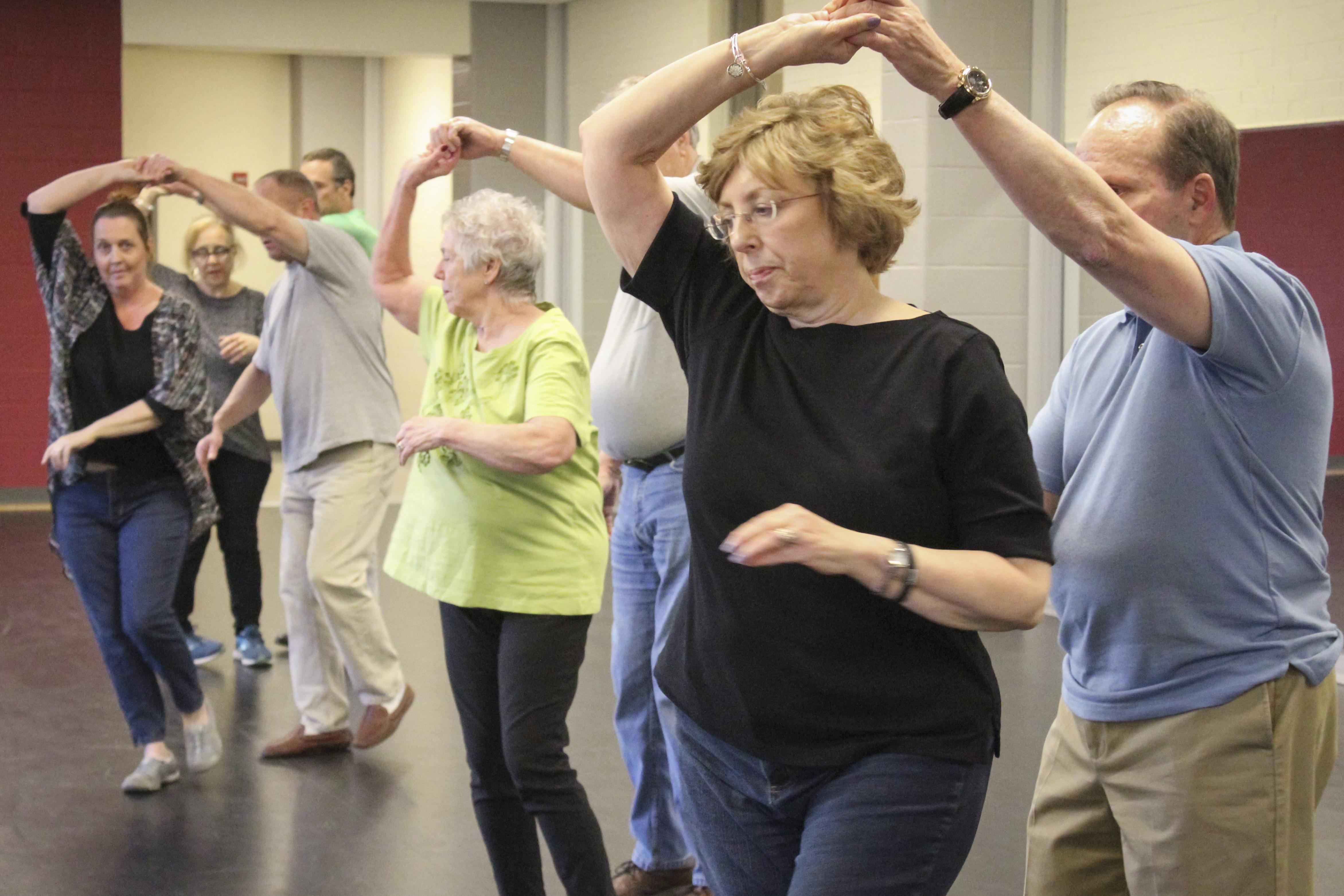 Students dancing ballroom dance class